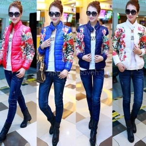 Women Long Sleeved Floral Printed Short Down Jacket Cotton Padded Coat Outwear S-XXL
