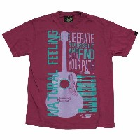 GUITAR ヘンプ Tシャツ マジェンタ one by one clothing