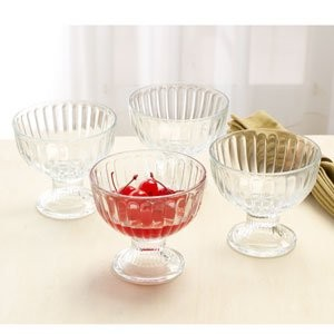 Circleware Passion Footed Glass Iceクリームデザートディッシュボウル、4のセット、9オンス各、限定版Glassware Serveware