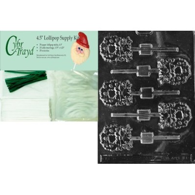 Cybrtrayd 45stk25g-c103 Wreath Lollyクリスマスチョコレート金型with Lollipop Kit, Includes 25 Lollipopスティック...