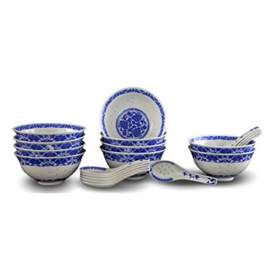 10 Pcs Fine Porcelain Blue and White Rice Pattern Bowls, Cereal Bowls, Rice Bowls with Free 10...