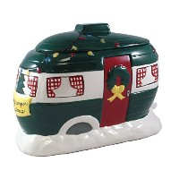 """Happy CamperクリスマスHand Painted Cookie Jar–11"""""""