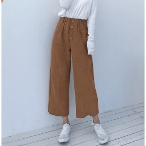 Autumn and winter new ulzzang high waist wild retro chic wind leisure wide legs pants female