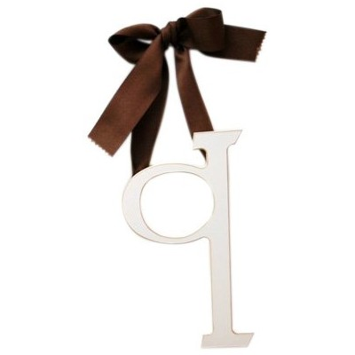 New Arrivals Wooden Letter Q with Solid Brown Ribbon, Cream by New Arrivals