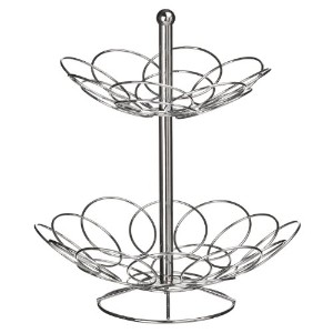 Premier Housewares Ellipse 2-Tier Fruit Basket - Chrome by Premier Housewares