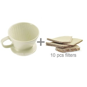 DOWONSOLセラミック磁器ミルキーホワイトコーヒーメーカーDripper with 10個フィルタSeverセットCoffee Filter Cone White102+10filters...