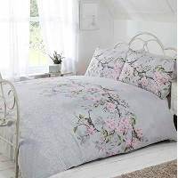 Just Contempo Blossom Bird Duvet Cover Set, Double, Grey by Just Contempo