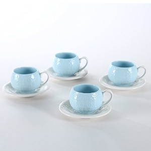 solecasa磁器/セラミックDemitasse /ティーカップ、コーヒーCup and Saucer Set 4.5-OZ Cup for Sipping ブルー 10014#-10015#SA...