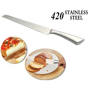 qst-caiduパンナイフ14.5-inch & # xff0C ; 420ステンレススチールAll - in - One Serrated Bread Slicerナイフwith鋸歯状エッジ