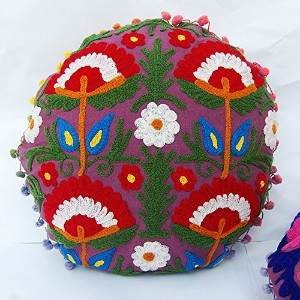 Hand Embroidered Suzani Throw Round Cushion Cover Decorative Cotton Pillow case Indian Bed Pillow
