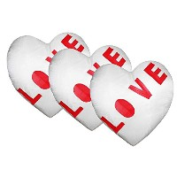 Love Heart Shape Cushion Cover with Filler(Pack of 3)