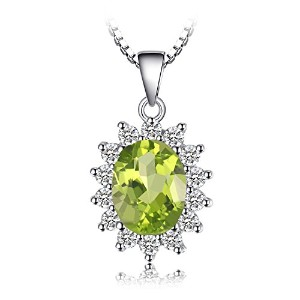 JewelryPalace Kate Diana(ダイアナ) プリンセス デザイン 天然石 8月 誕生石 ペリドット ネックレス ペンダント シルバー 925 チェーン 45cm