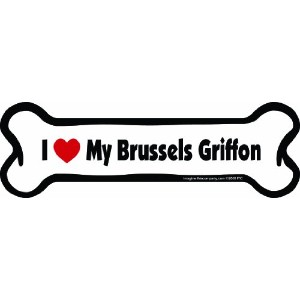 Imagine This Bone Car Magnet, I Love My Brussels Griffon, 2-Inch by 7-Inch by Imagine This