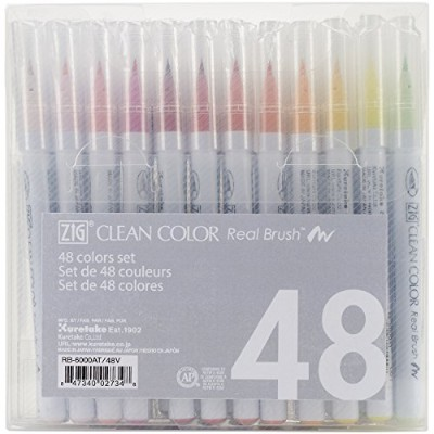 Zig Clean Color Real Brush Markers (48 Per Package) by Zig
