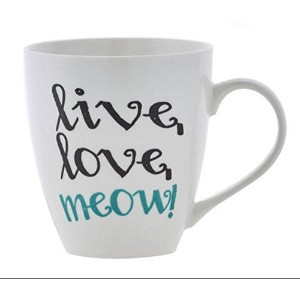 Pfaltzgraff Live Love Meow Cat LoverコーヒーマグLarge 18オンス – ホワイト