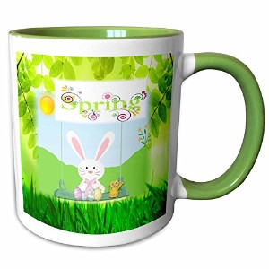 フローレンHoliday – イメージのEaster Bunny with Wordばね – マグカップ 11-oz Two-Tone Green Mug mug_235461_7