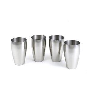 StainlessLUX 77334 4-Pc Brilliant Stainless Steel Drinking Glass / Tumbler / Pub Glass Set -...