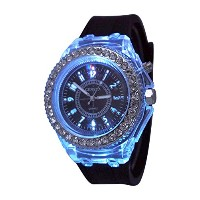 ブラックGeneva Quartz Flashing Light Up Color Changing LEDシリコンJelly Watch