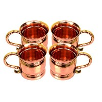 STREET CRAFT Set of-4, 100% Authentic Copper Old Fashion Smooth Moscow Mule Mug with Flat Lip,...
