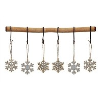 Snowflakes Painted Wooden Hangingクリスマスオーナメント – セットof 6