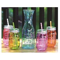 Circleware 4 asst. Colored Mason Jars W /蓋/ストロー& Aqua国スタイルカラフェ