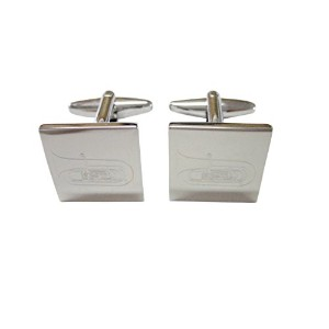 Silver Toned Etched Tuba Music Instrument Cufflinks