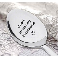 "Good Morningハンサム、""ハート"" Engraved on the spoon – Engravedコーヒースプーン – silverware spoon-christmas..."