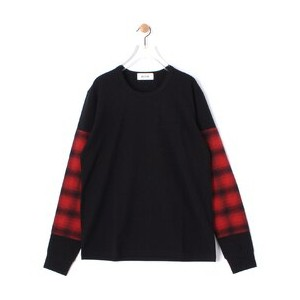 ALOYE × Ray BEAMS / 別注 袖 キリカエ ロング スリーブ【ビームス ウィメン/BEAMS WOMEN レディス Tシャツ・カットソー red blk plaid sleeve...