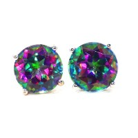 4 Carat Genuine Mystic Topaz Stud Earrings .925 Sterling Silver Rhodium Finish