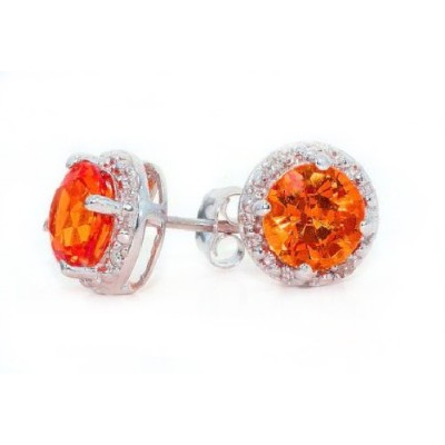 2 Ct Simulated Orange Citrine & Diamond Round Stud Earrings .925 Sterling Silver Rhodium Finish