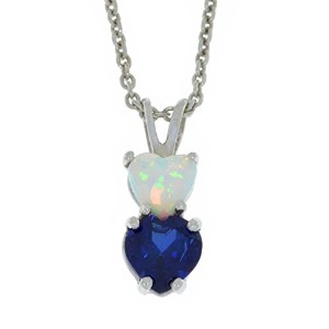 Simulated Opal & Created Blue Sapphire Heart Double Pendant .925 Sterling Silver