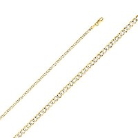 14K 2つトーンゴールド2.7MM CUBAN CURBホワイトPaveチェーンネックレスwith Lobster Claw Clasp