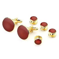 Claret Red Cufflink and Stud Set in Gold
