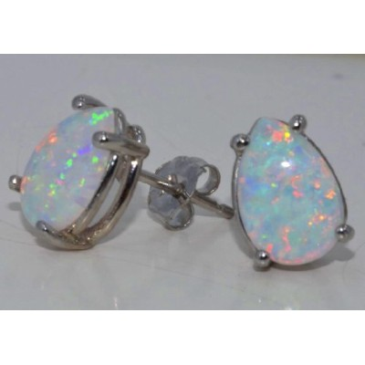 Simulated Opal Pear Stud Earrings .925 Sterling Silver Rhodium Finish
