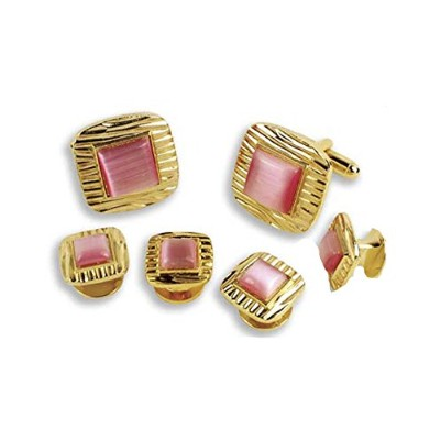 Decorative Square withピンクセンターCufflinks and Studs