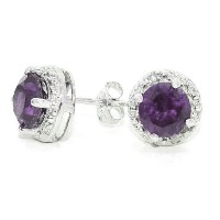 2 Ct Created Alexandrite & Diamond Round Stud Earrings .925 Sterling Silver Rhodium Finish