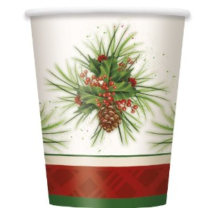 9oz Holly Sprig Holiday Party Cups , 8 ct