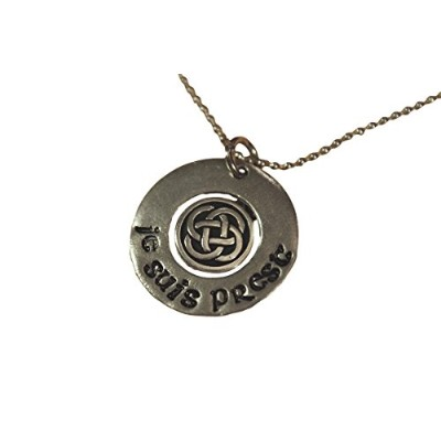 Outlander Inspired Necklace – Pewter Hand Stamped with Je suis prestとケルトノットon 18インチチェーン