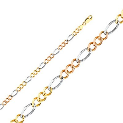Wellingsale 14K 33色ゴールドソリッド5.5MM Polished Figaro 3+ 1Concaveチェーンネックレス