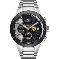 フェラーリ Ferrari Men's 0830263 REDREV EVO Stainless Steel Bracelet Watch with Black Dial [並行輸入品]