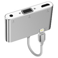 iPhone/iPad/iPod用変換アダプタ AQQEF Lightning to HDMI&VGA&Audio 1080P HD Lightning hdmi 変換 3.5mmイヤホン端子...