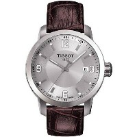 ティソ Tissot 腕時計 メンズ 時計 Tissot PRC 200 Quartz Silver Dial Brown Leather Sport Mens Watch T055410160370...