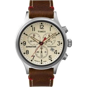 タイメックス Timex メンズ アクセサリー 腕時計【Expedition Scout Chrono Watch】Brown Strap/Natural Dial