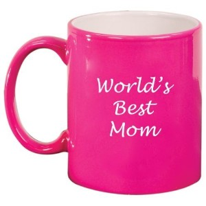 World's Best Mom Ceramic Coffee Tea Mug Cup Hot Pink Gift for Mom by MIP
