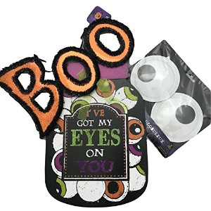 ハロウィンGoogle Eyeバンドルwith Boo Hanging Sign、木製Jar Wall Hangingと1のセットLarge Google Eyes