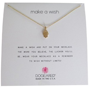 """Dogeared Make a Wish Open Hamsa Gold Dipped 16""""プラス2"""" Extenderネックレス"""
