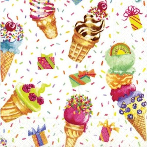Entertaining with Caspari Ice Cream Party Paper Cocktail Napkins by Caspari