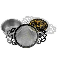 Empress Tea Strainers with Drip Bowls ( 2- Pack ) ;エレガントなステンレススチールLoose Leaf Tea Strainers