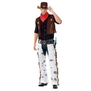 Smiffy's Men's Cowboy Costume with Waistcoat Chaps Scarf and Hat, Multi, Large