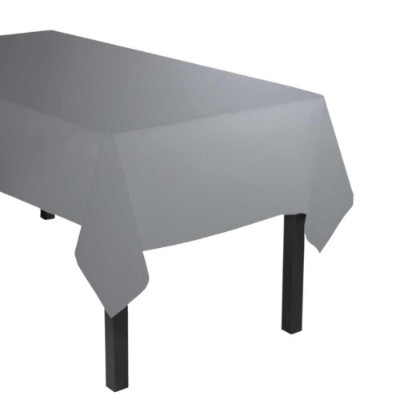 (Silver) - Party Essentials Heavy Duty Plastic Table Cover Available in 44 Colours, 140cm x 270cm ,...